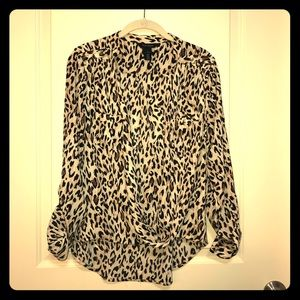 WHBM Leopard Print Blouse